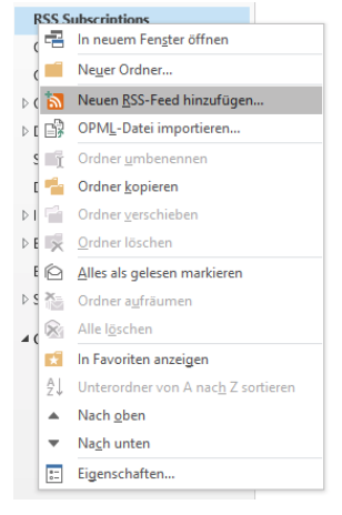 RSS Subscriptions Outlook